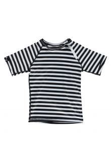 Beach & Bandits - UV swim shirt child - Stripe Tee - Black / white - Front