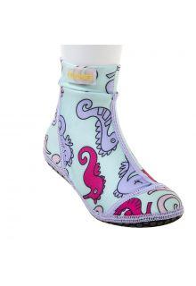 Duukies - Girls UV Beach Socks - Seahorse - Light Blue - Front
