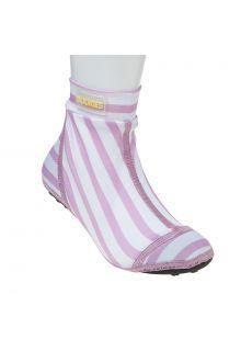 Duukies - Girls UV Beach Socks - Stripe Pink White - Pink Stripes - Front