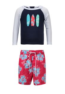 Snapper Rock - UV Swim set - Hibiscus Surfboard - Blue/Red - Front