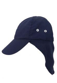 Rigon---UV-sun-cap-with-neck-flap-for-children---Navy-blue