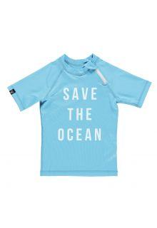 Beach & Bandits - UV swim shirt child - Save the ocean - Blue / white - Front