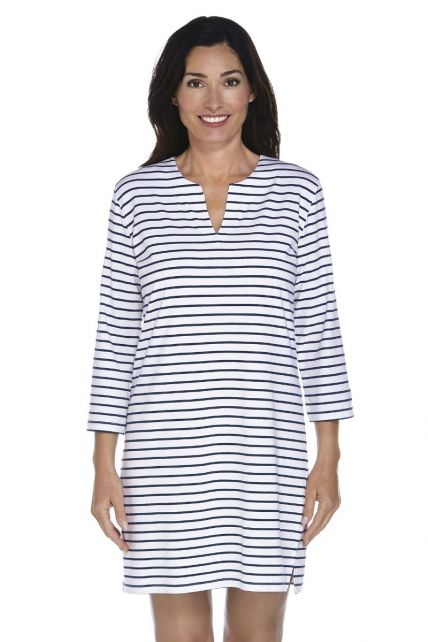 Coolibar---UPF-50+-Women's-Oceanside-Tunic-Dress---Navy/White-Stripe
