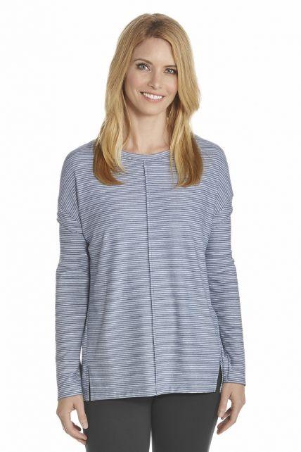 Coolibar---UV-T-Shirt-women---DarkBlue/White