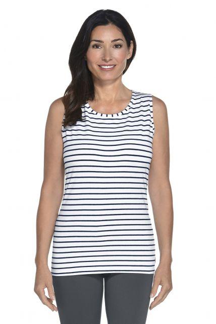 Coolibar---UV-Basic-Tank---navy/white-stripe