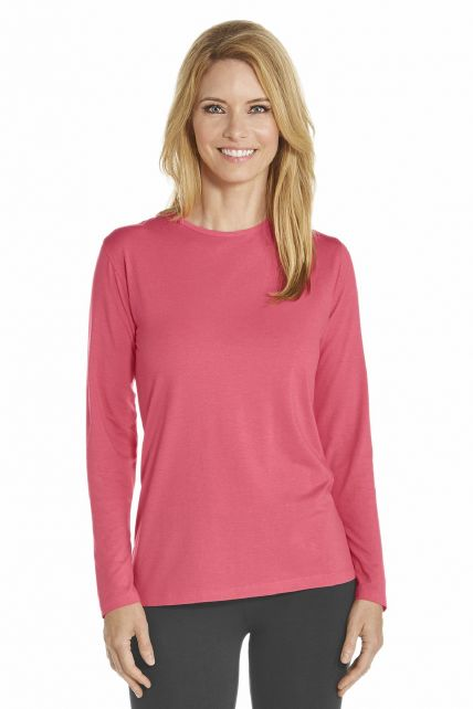 Coolibar - T-Shirt long sleeve - Coral - Front