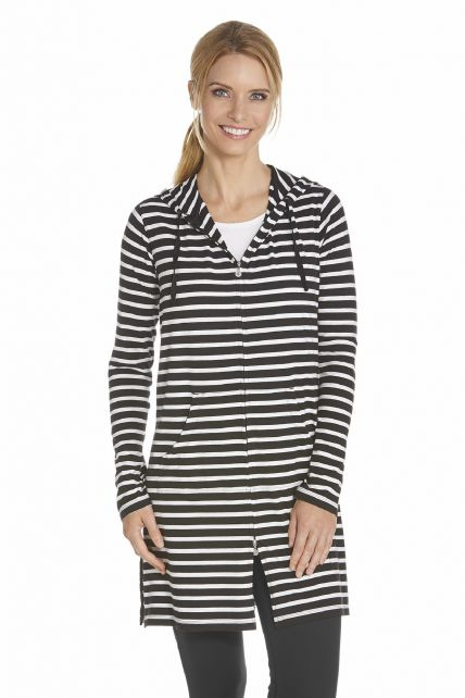 Coolibar---UV-long-cover-up-for-ladies---Black-stripes
