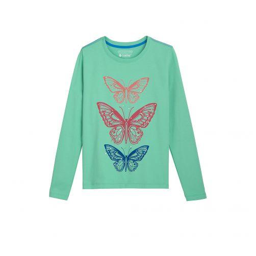 Coolibar - UV shirt for kids - butterflies - green - Front