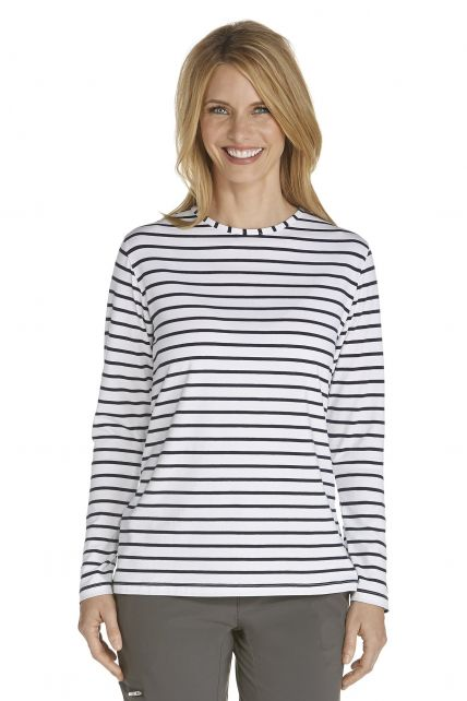 UV Long-Sleeve T-Shirt - navy/white stripe - Front