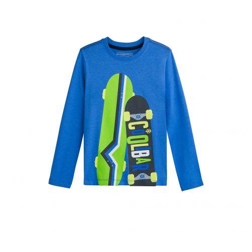 Coolibar - UV shirt for kids - skateboards - blue - 0