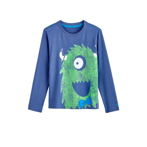 Coolibar - UV shirt for children longsleeve - Green monster blue - Front