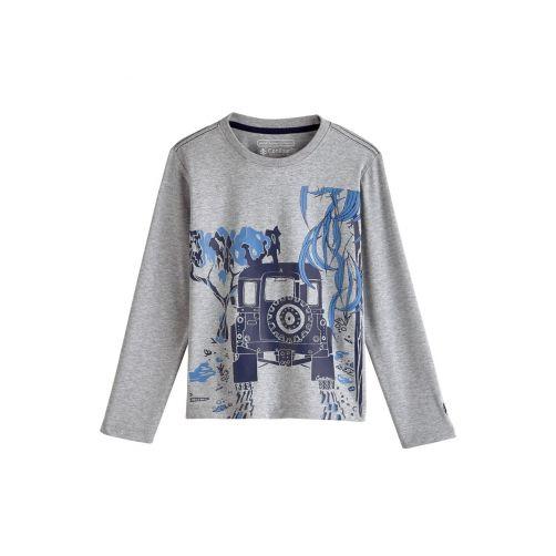 Coolibar - UV shirt for children longsleeve - Safari Jeep heather grey - Front