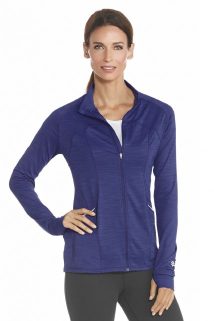 Coolibar---UV-Women-Workout-Jacket---Saphire