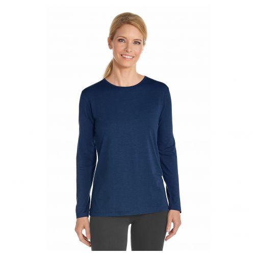 Coolibar - UV longsleeve shirt for women - Navy blue - Front