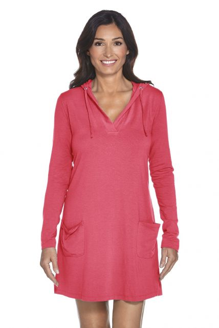Coolibar---UV-Beach-dress-with-V-neck-women---Coral