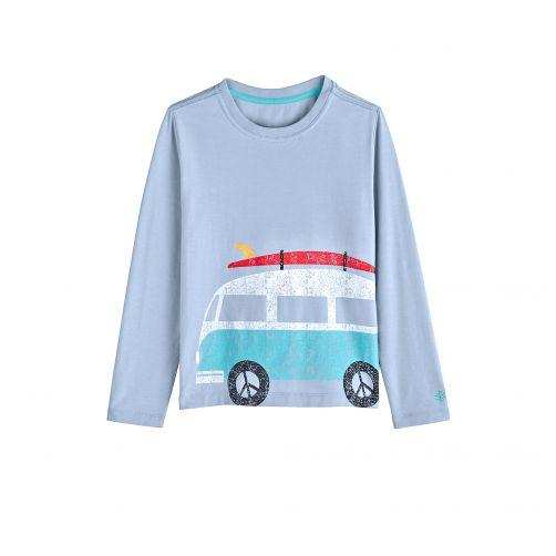 Coolibar - UV shirt for children longsleeve - Bus vintage blue - Front