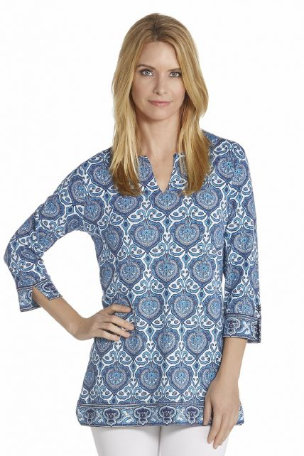 Coolibar---UV-Tuniek-Top-women---Blue