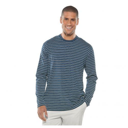 Coolibar - Men's UV shirt long sleeve - blue-white striped - Front