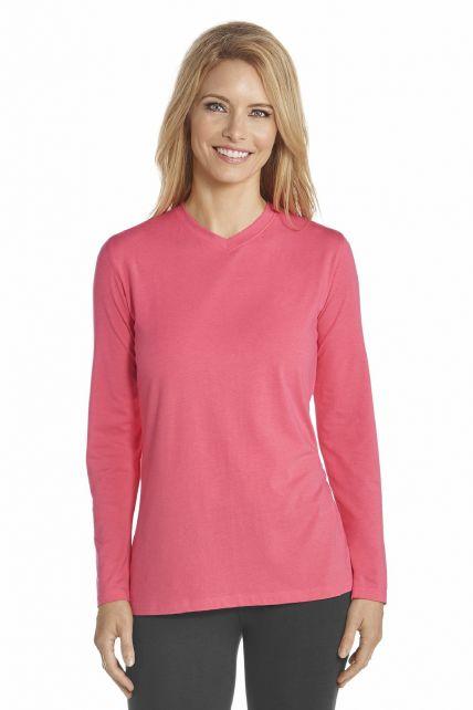 Coolibar---UV-V-neck-T-Shirt-women---Coral