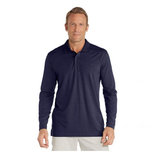 Coolibar---UV-polo-shirt-for-men-longsleeve---Navy-blue