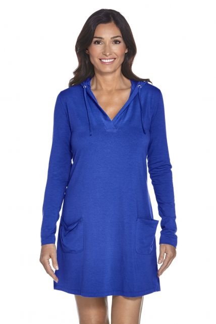 Coolibar---UPF-50+-Women's-Poolside-Cover-Up-Hoodie---Cobalt-blue