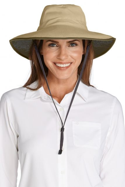 Coolibar---Shapeable-UV-Suncatcher-Hat-for-women---Etta---Tan/Khaki