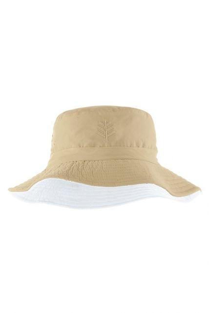 Coolibar---UV-bucket-hat-for-children---Tan-/-white
