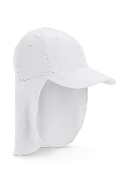 Coolibar---UV-sun-cap-for-children-with-neck-flap---White