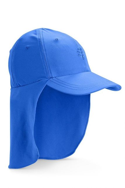 Coolibar---UV-sun-cap-for-children-with-neck-flap---Baja-blue