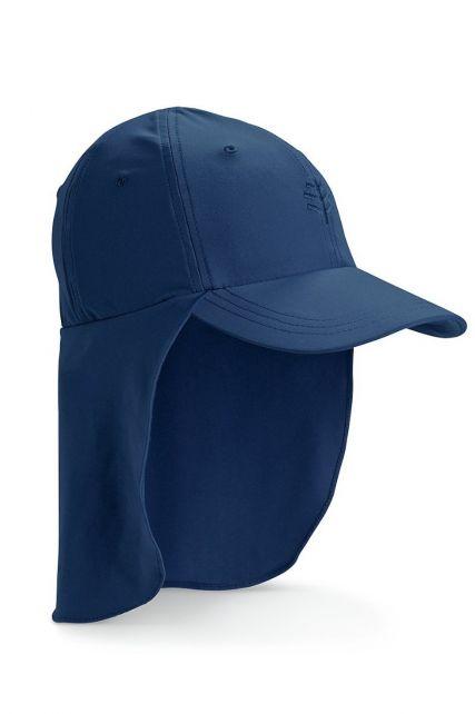Coolibar---UV-sun-cap-for-children-with-neck-flap---Navy-blue