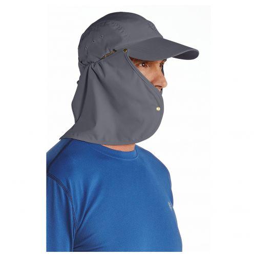 Coolibar---UV-sun-cap-for-men-with-neck-flap---Stone-grey-/-black