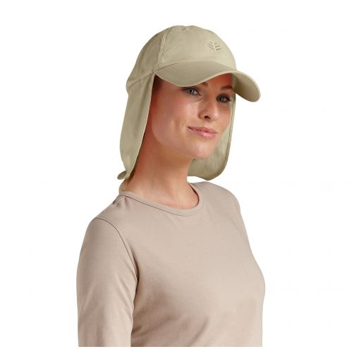 Coolibar - UV sun cap with neck flap unisex- Tan - Front
