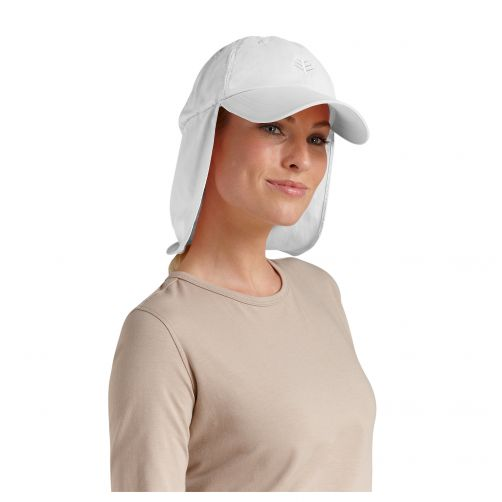 Coolibar - UV sun cap with neck flap unisex- White - Front