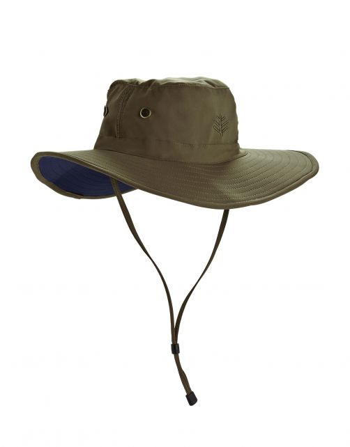 Coolibar---Shapeable-Wide-Brim-UV-Hat-for-men---Leo---Khaki/Navy