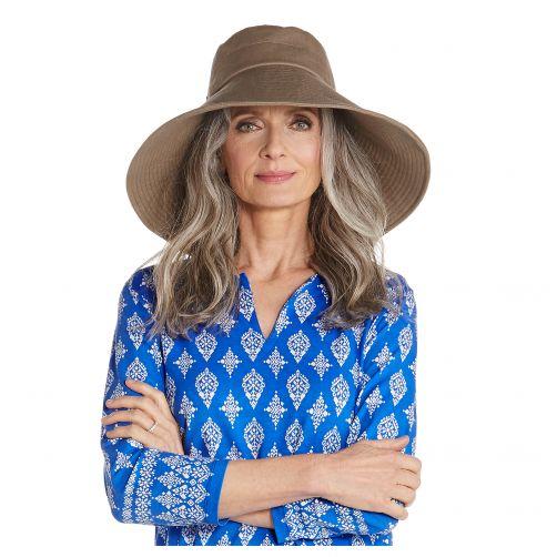 Coolibar---UV-floppy-hat-for-women---Wide-brim---Mushroom-brown