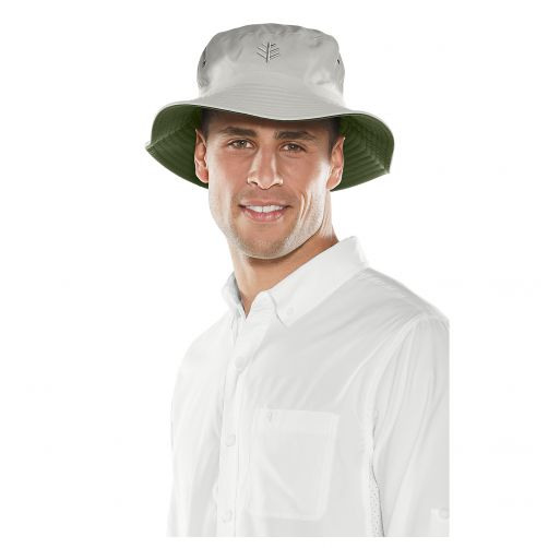 Coolibar---UV-hat-for-men---Reversible-two-colours:-stone-and-olive