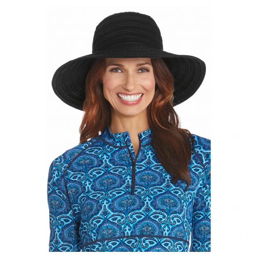 Coolibar---UV-floppy-hat-for-women-with-ribbons---Black