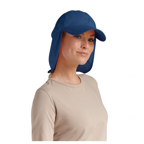 Coolibar - UV sun cap with neck flap unisex- Navy blue - Front