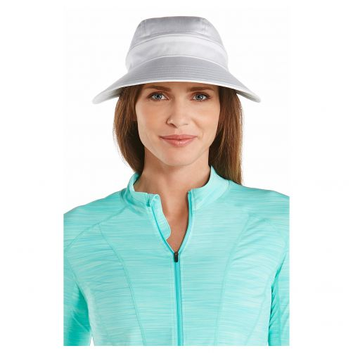 Coolibar---UV-sun-visor-for-women---Zip-off---White
