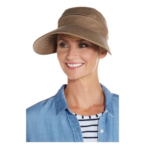 Coolibar---UV-sun-visor-for-women---Zip-off---Mushroom-brown