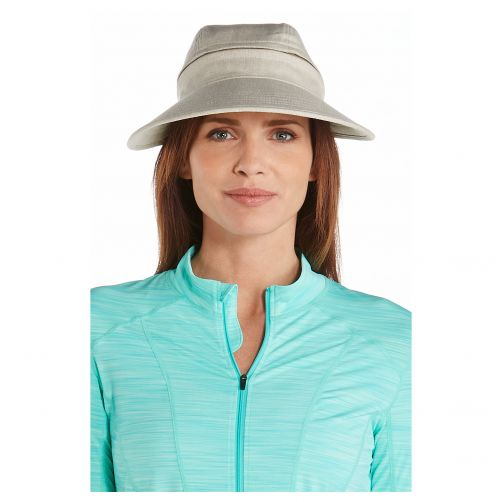 Coolibar---UV-sun-visor-for-women---Zip-off---Natural-herringbone