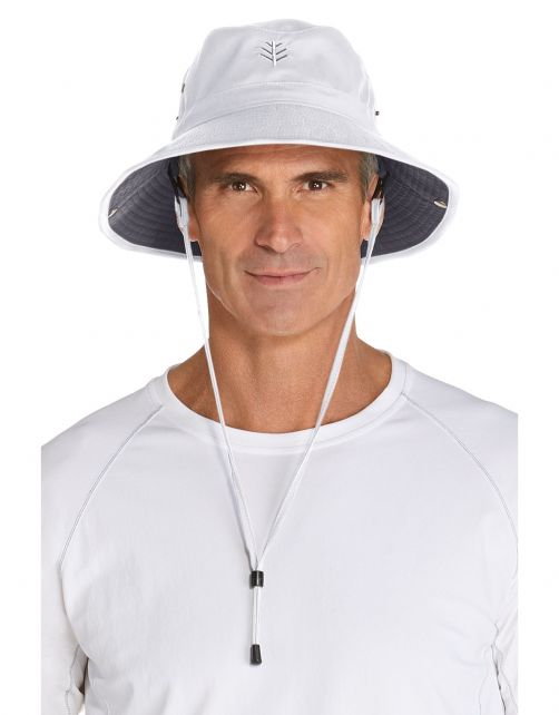Coolibar---Featherweight-UV-Bucket-Hat-for-men---Chase---White/Carbon