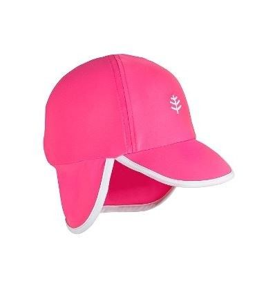 Coolibar---UV-sun-cap-for-babies-with-neck-flap---Aloha-Pink/White