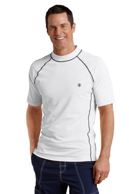 Coolibar---Men's-Short-Sleeve-Swim-Shirt---White
