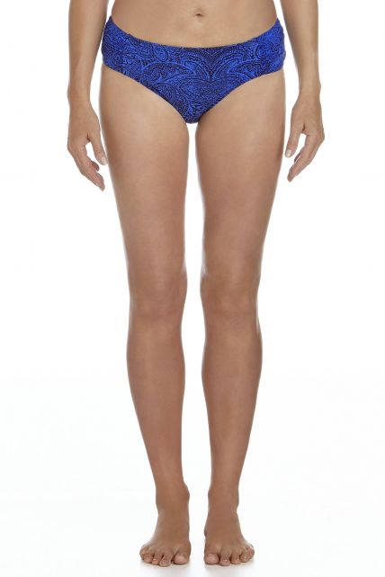 Coolibar---UPF-50+-Women's-Ruche-Swim-Bikini-Bottom-UV-Swimwear--Blue-Floral-Motif