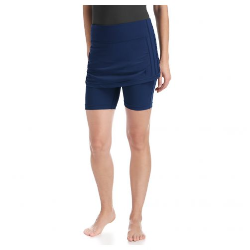 Coolibar---UV-skirted-swim-shorts-for-women---Navy-blue