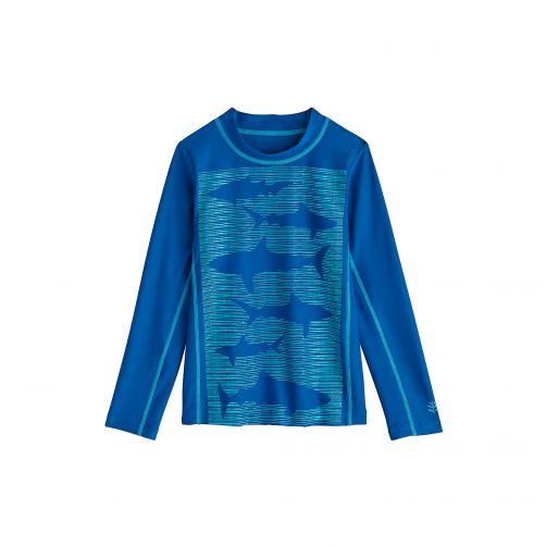 Coolibar - UV swim shirt for children - School of Sharks blue - Front
