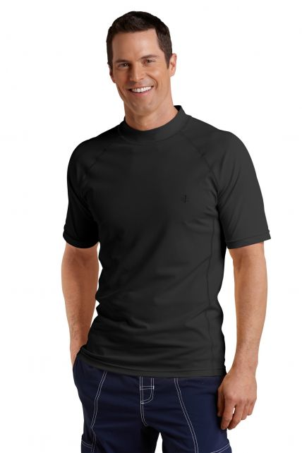 Coolibar---Men's-Short-Sleeve-Swim-Shirt---Black