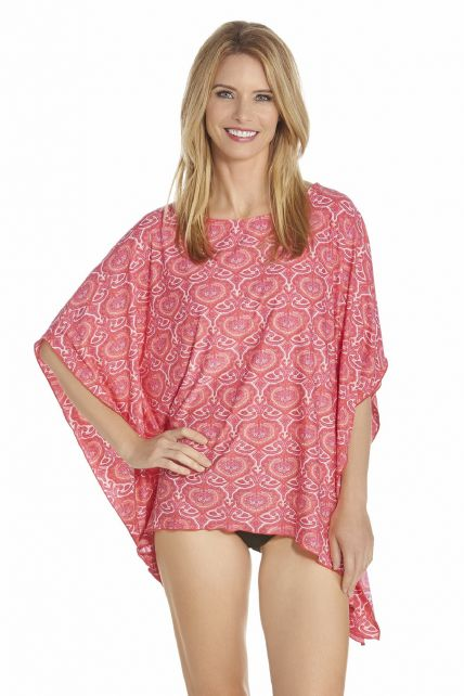 Coolibar - UV Beach poncho women - Pink - Front