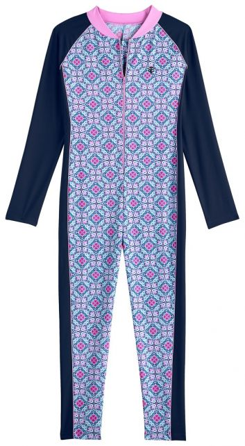 Coolibar - UV swimsuit for girls - long-sleeve - Mosaïque - multi - Front